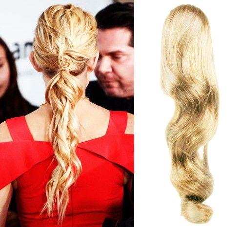 Clip-Vlasy-Levne.cz Clip in vlnitý příčesek/culík/cop 100% lidské vlasy 50cm - nejsvětlejší blond