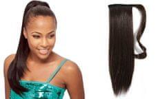 Clip-Vlasy-Levne.cz Clip in příčesek culík/cop 100% lidské vlasy 50cm - tmavě hnědý