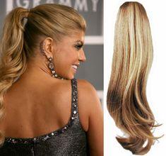 Clip-Vlasy-Levne.cz Clip in vlnitý příčesek/culík/cop 100% lidské vlasy 50cm - přírodní/světlejší blond