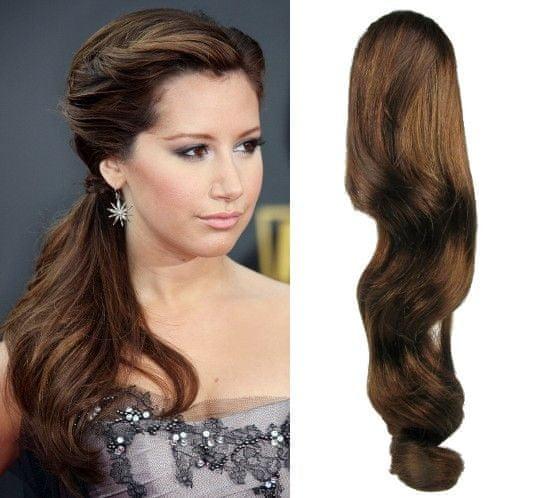 Clip-Vlasy-Levne.cz Clip in příčesek culík/cop 100% lidské vlasy 60cm vlnitý - středně hnědý