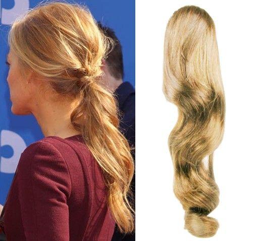 Clip-Vlasy-Levne.cz Clip in vlnitý příčesek/culík/cop 100% lidské vlasy 50cm - přírodní blond