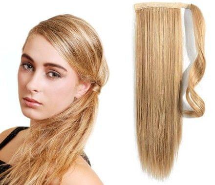 Clip-Vlasy-Levne.cz Clip in příčesek culík/cop 100% lidské vlasy 50cm - přírodní/světlejší blond