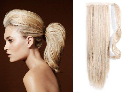 Clip-Vlasy-Levne.cz Clip in příčesek culík/cop 100% lidské vlasy 60cm - platina