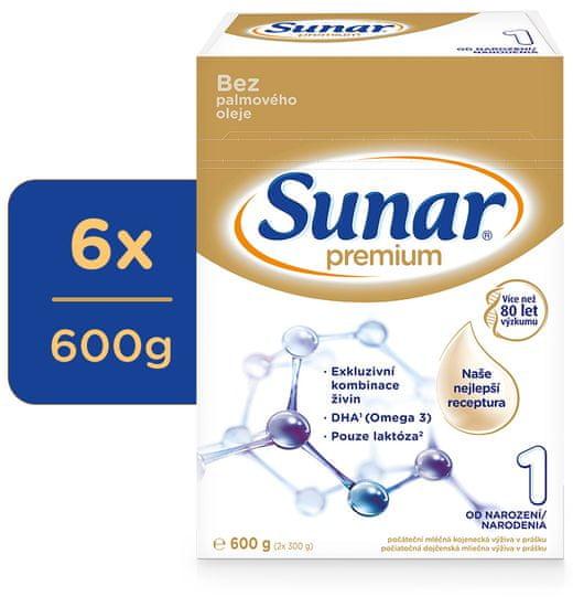 Sunar Premium 1, počáteční kojenecké mléko, 6x600g EXPIRACE 8/2021
