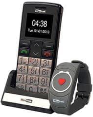 MaxCom mobilni telefon MM715 z SOS zapestnico, črn