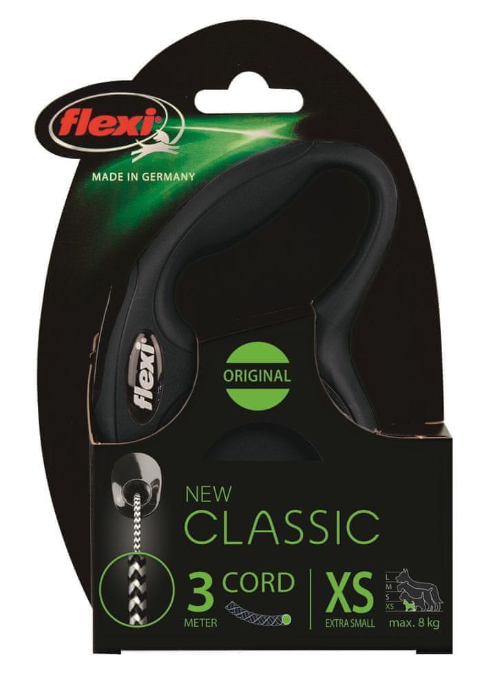 Flexi New Classic XS šňůra 3 m, max. 8 kg, černá