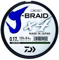 Daiwa Splietaná Šnúra J-Braid 4 Žltá 135 m-Priemer0,10 mm / Nosnosť 3,8 kg