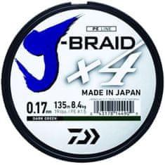 Daiwa Splietaná Šnúra J-Braid 4 Tmavo Zelená 135m-Priemer 0.19 mm / Nosnosť 10,2 kg