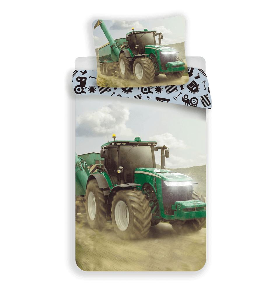 Jerry Fabrics Povlečení Traktor zelená