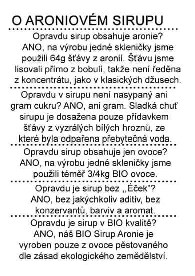 Dr. Hlaváč  BIO Sirup Aronie 320 g BEZ přídavku CUKRU