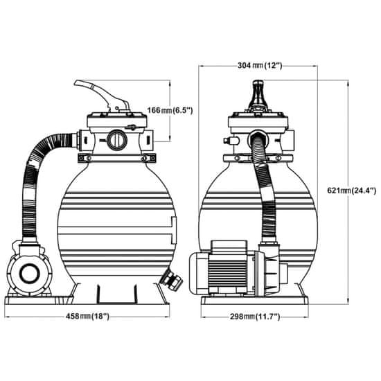 shumee Črpalke s peščenim filtrom 2 kosa 400 W 11000 l/h