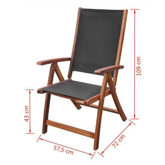 shumee Składane krzesła ogrodowe, 2 szt., drewno akacjowe i textilene