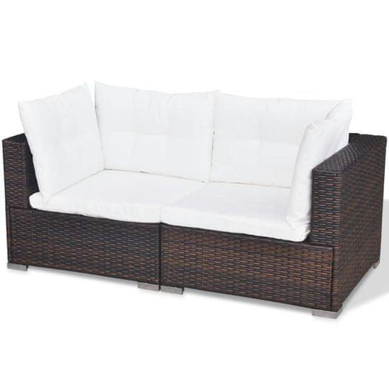 shumee 5-részes barna polyrattan kerti bútorszett párnákkal