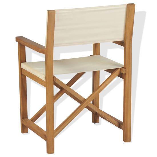 shumee Zložljiv režiserski stol 2 kosa trdna tikovina