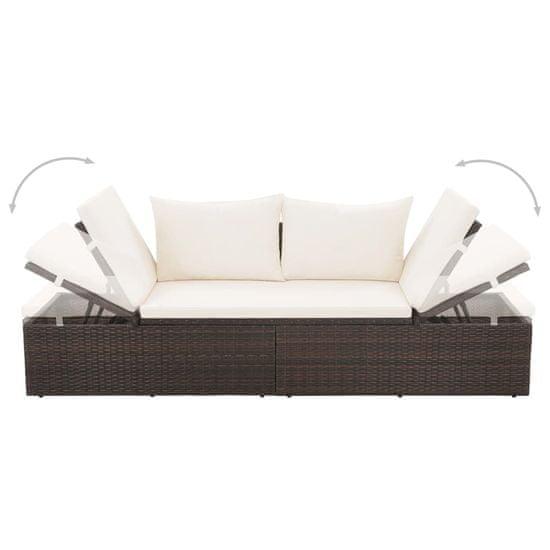 shumee Vrtna postelja poli ratan 195x60 cm rjava