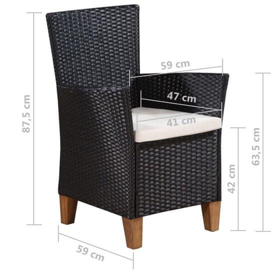 shumee Zunanji stoli z blazinami 2 kosa poli ratan črne barve
