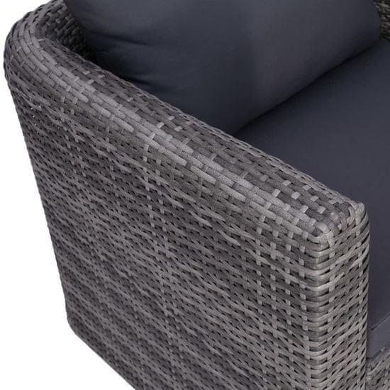 Greatstore 8-dielna záhradná sedacia súprava s vankúšmi sivá polyratanová