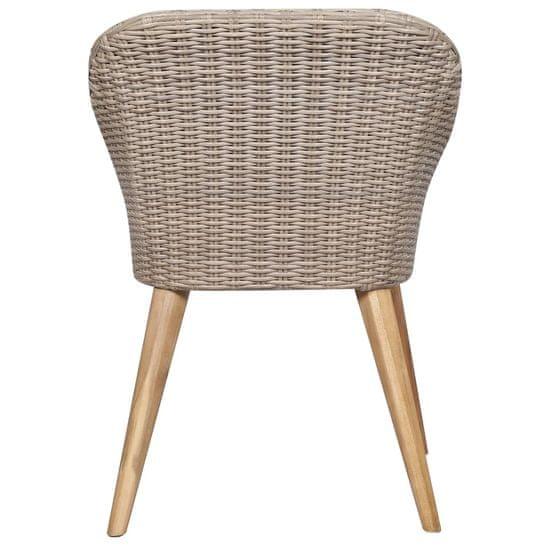 shumee Zunanji stoli z blazinami 2 kosa poli ratan rjave barve