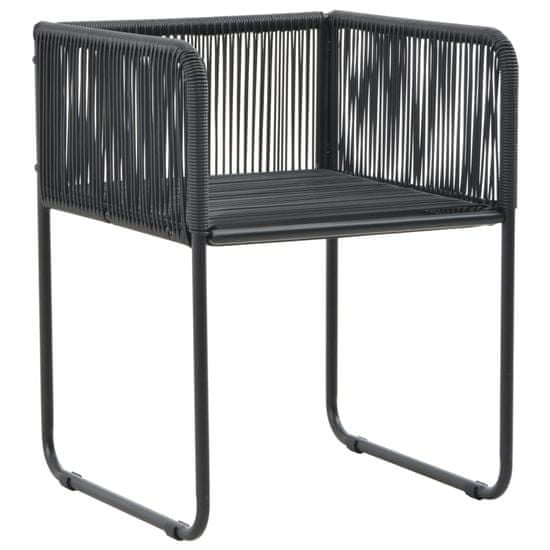 shumee Zunanji stoli 2 kosa z blazinami poli ratan črne barve
