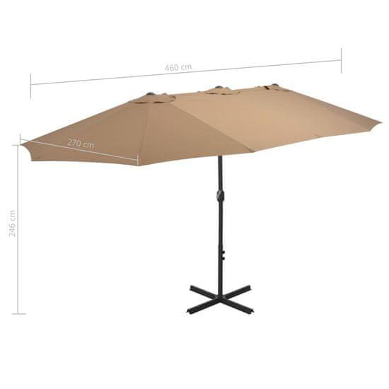 shumee Vonkajší slnečník s hliníkovou tyčou 460x270cm hnedo-sivý