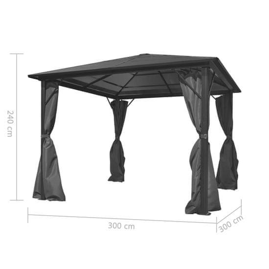 shumee Paviljon z zavesami antracit aluminij 300x300 cm