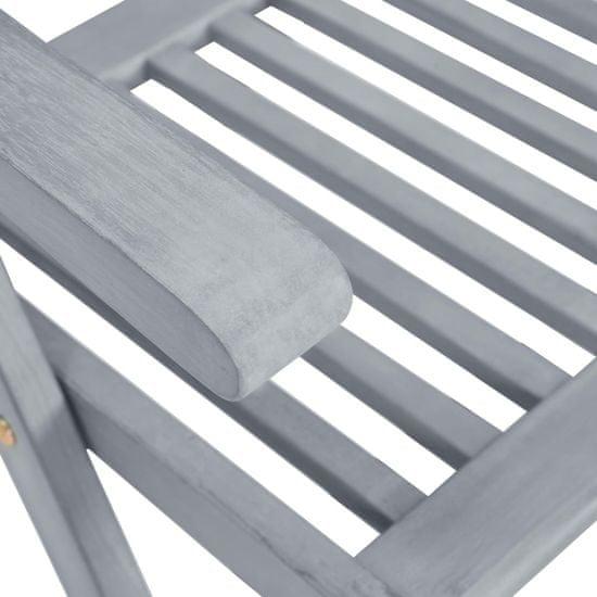 shumee Raztegljivi vrtni stoli 4 kos siv akacijev les