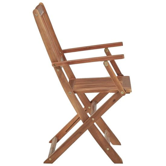 shumee Skladacie záhradné stoličky s vankúšmi 6 ks agátové drevo