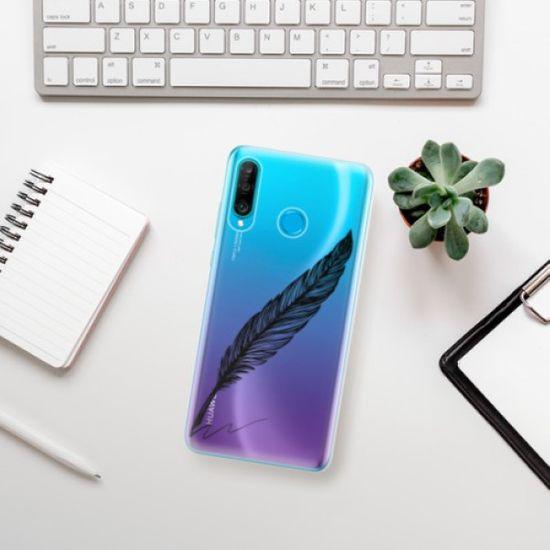 iSaprio Writing By Feather - black szilikon tok Huawei P30 Lite