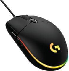 Logitech G102 LightSync gaming miška, črna