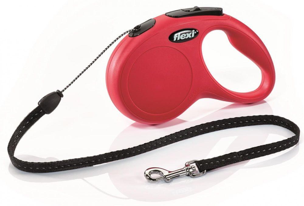 Flexi New Classic S šňůra 5 m, max.12 kg, červená