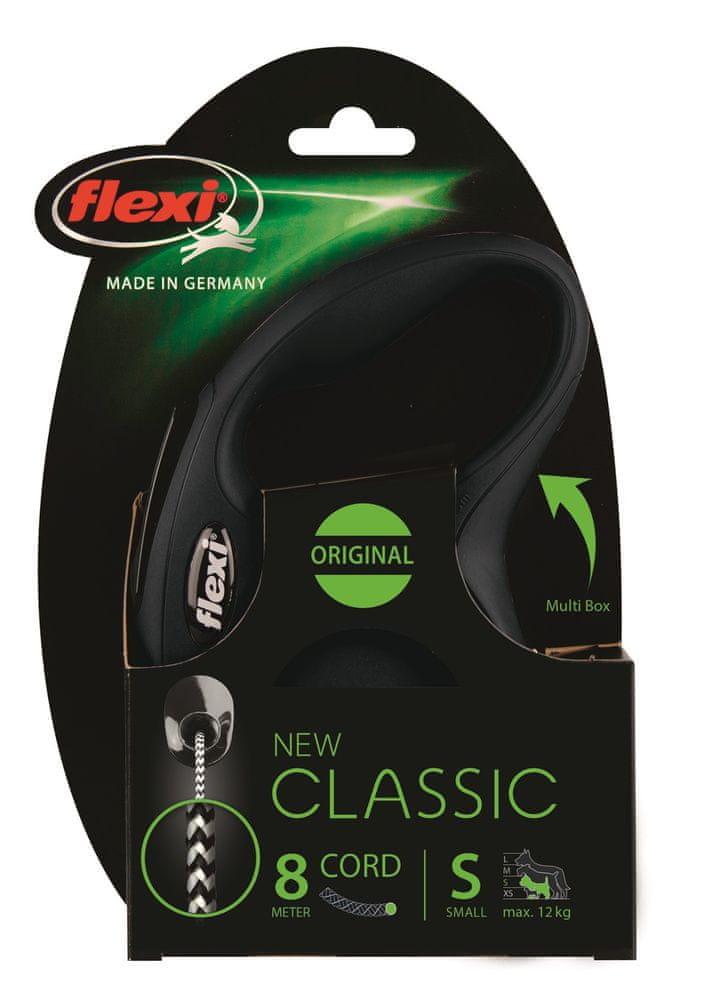Flexi New Classic S šňůra 8 m, max. 12 kg, černá