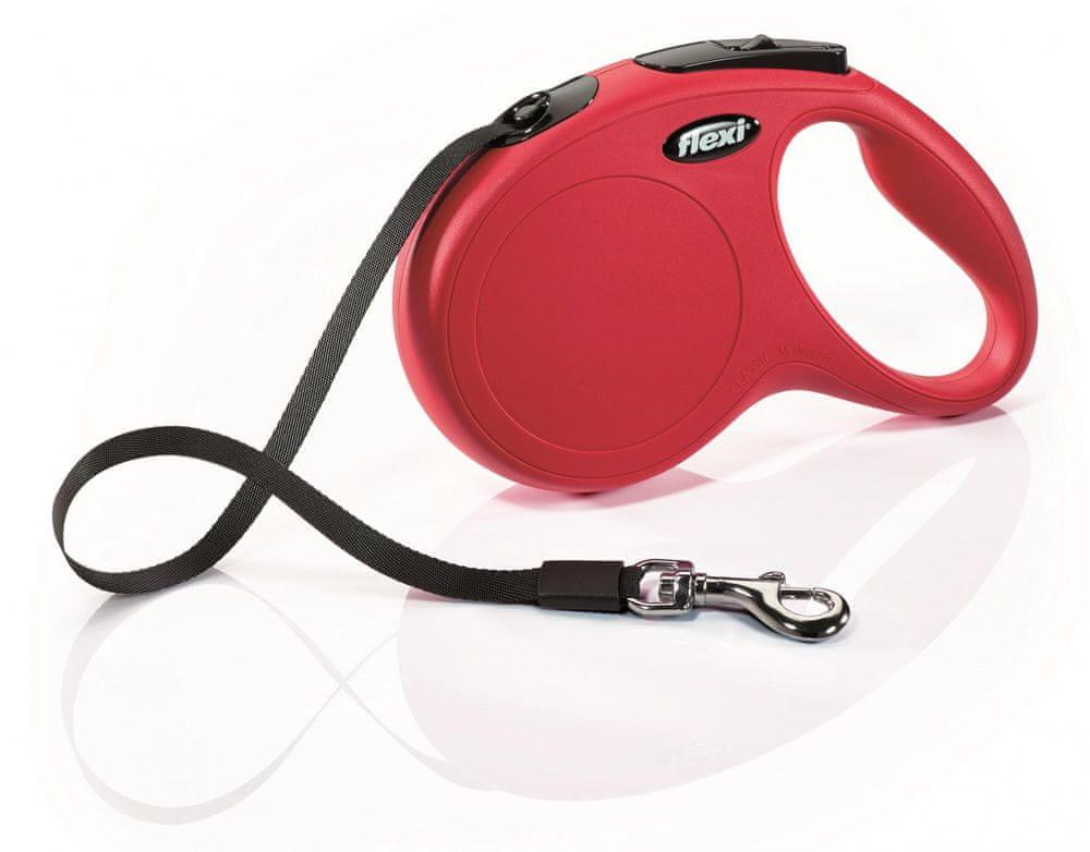 Flexi New Classic M pásek 5 m, max. 25 kg, červená