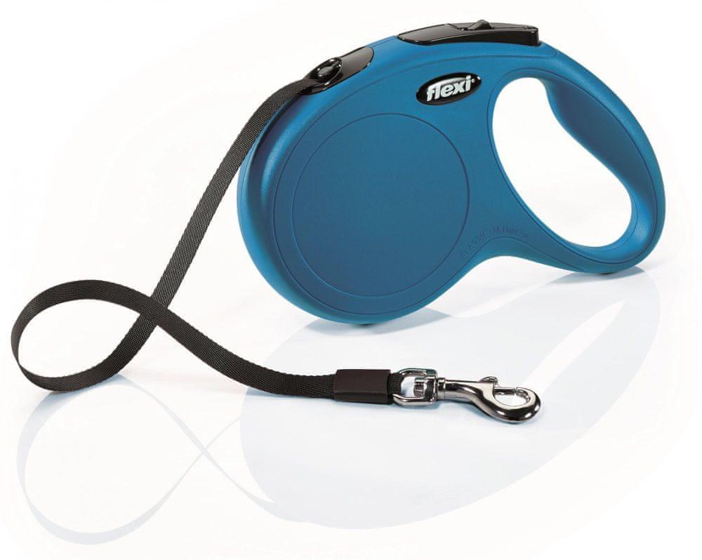 Flexi New Classic M pásek 5 m, max. 25 kg, modrá