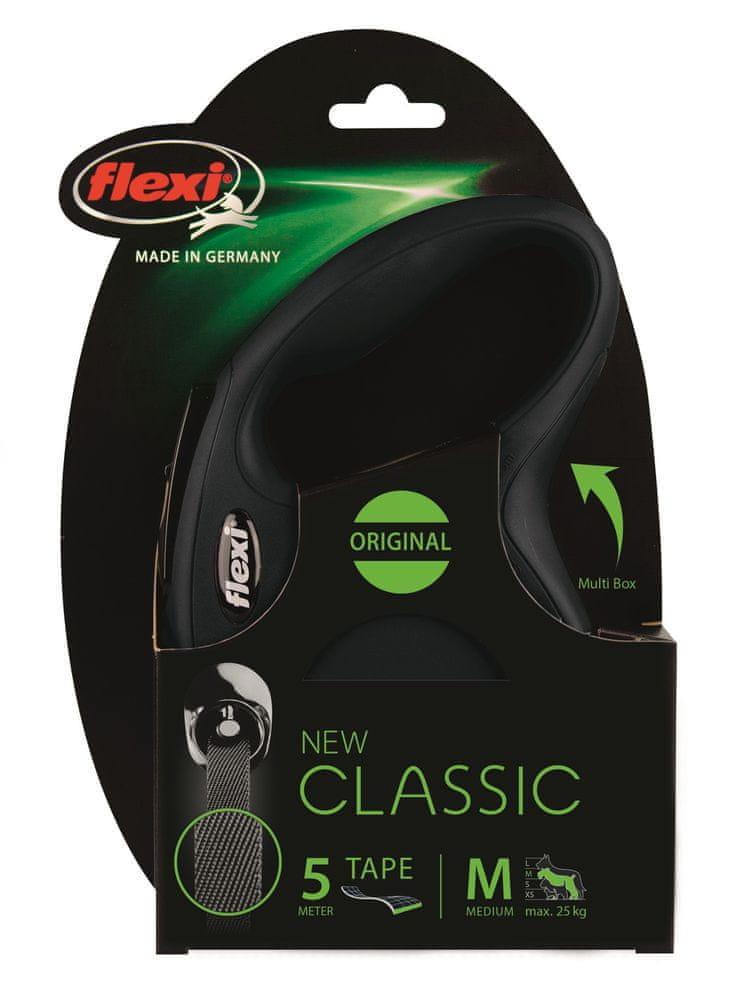 Flexi New Classic M pásek 5 m, max. 25 kg, černá