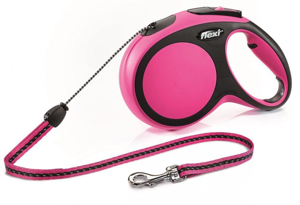 Flexi New Comfort M šňůra 8 m, max. 12 kg, růžová