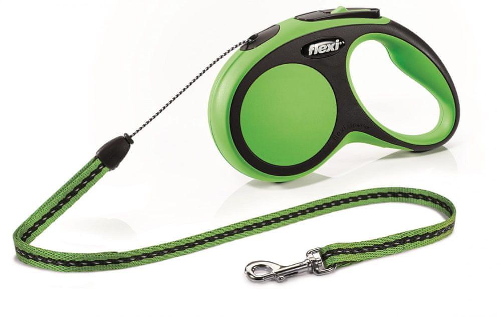 Flexi New Comfort S šňůra 5 m, max. 12 kg, zelená