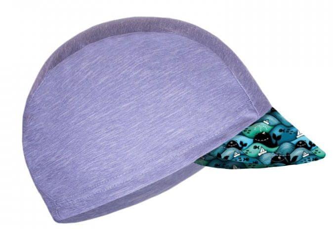 Unuo Chlapecká funkční čepice s kšiltem UV 50+ Velryby 53 - 58 šedá