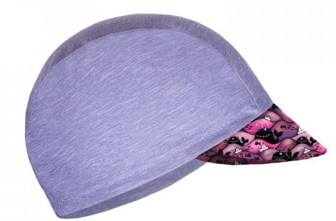 Unuo Dívčí funkční čepice s kšiltem UV 50+ Velryby 53 - 58 šedá