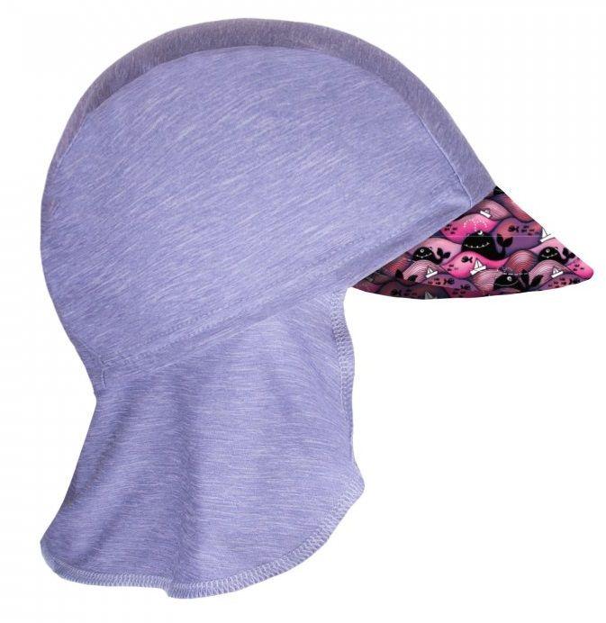 Unuo Dívčí funkční čepice s plachetkou UV 50+ Velryby 45 - 48 šedá