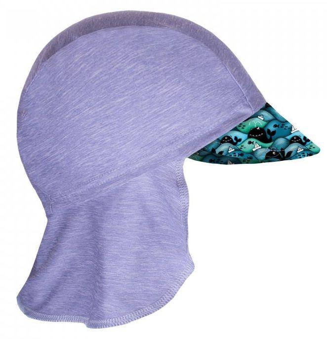 Unuo Chlapecká funkční čepice s plachetkou UV 50+ Velryby 45 - 48 šedá