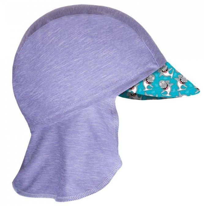 Unuo Chlapecká funkční čepice s plachetkou UV 50+ Žraloci 45 - 48 šedá
