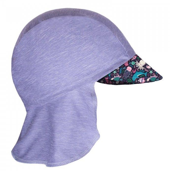 Unuo Dívčí funkční čepice s plachetkou UV 50+ Mořský svět 45 - 48 šedá