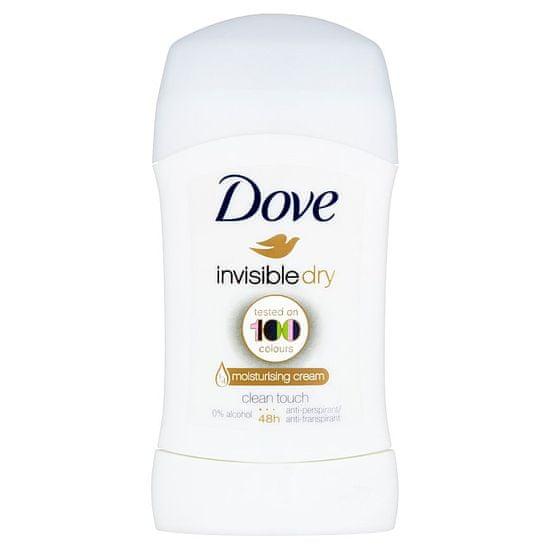 Dove Invisible Dry tuhý antiperspirant proti bílým skvrnám 48h 40 ml