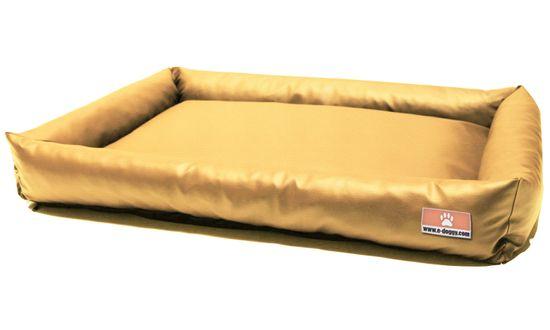 """e-doggy Kvalitní pelíšek pro psa z eko kůže BASIC """"XS"""" pískový"""