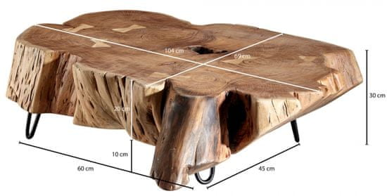 Bruxxi Konferenčný stolík Tea, 104 cm, masív agát