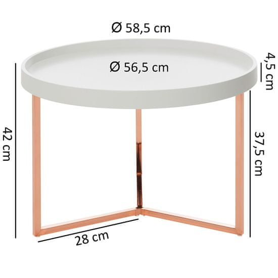 Bruxxi Odkladací stolík Hira, 58,5 cm, biela/medená