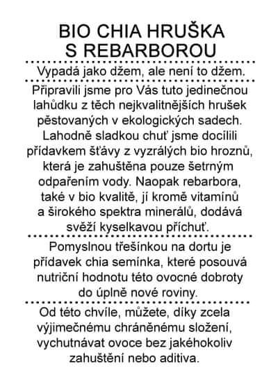 Dr. Hlaváč BIO džem Chia Hruška s Rebarborou 260 g BEZ přídavku CUKRU