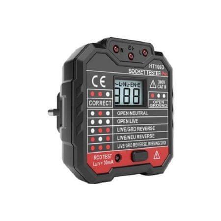EU tester zásuvek s LED displejem a indikátorem, dvojitá izolace, certifikát CE