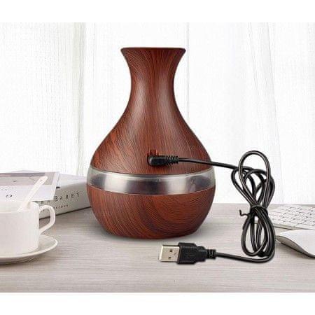ovlaživač zraka/uljni difuzor, ultrazvučni sa LED osvjetljenjem, imitacija svijetlog drva
