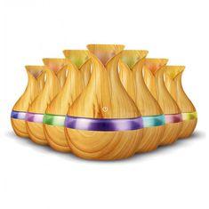 Vlažilec zraka/oljni difuzor, ultrazvočni z LED osvetlitvijo, imitacija svetlega lesa - Odprta embalaža